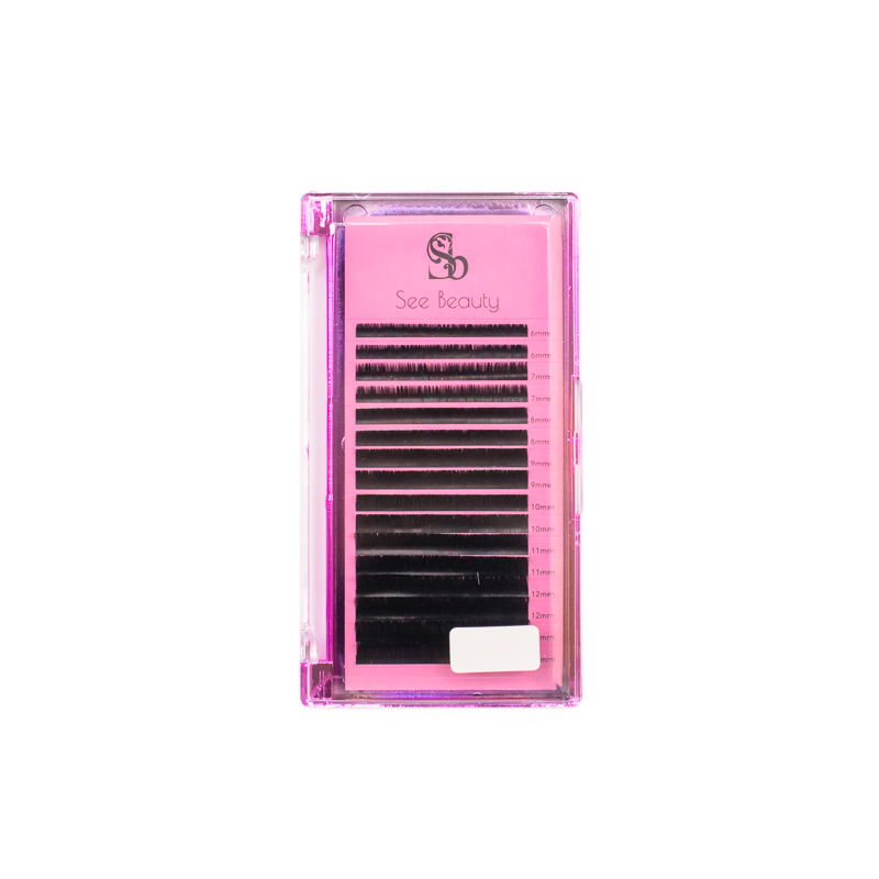 """See Beauty 0.07 Mix """"Black Onyx"""" lashes in a pink box"""